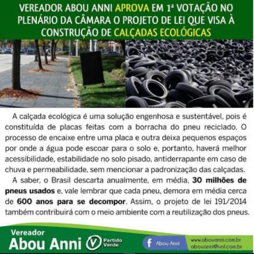 Projeto de Lei que visa construção de calçadas ecológicas