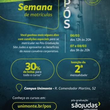 Associado ADEPOM tem descontos com a Faculdade São Judas Campus Unimonte, aproveitem!