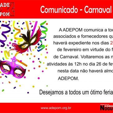 Comunicado – Feriado Carnaval!
